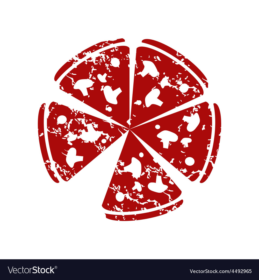 Red grunge pizza logo vector