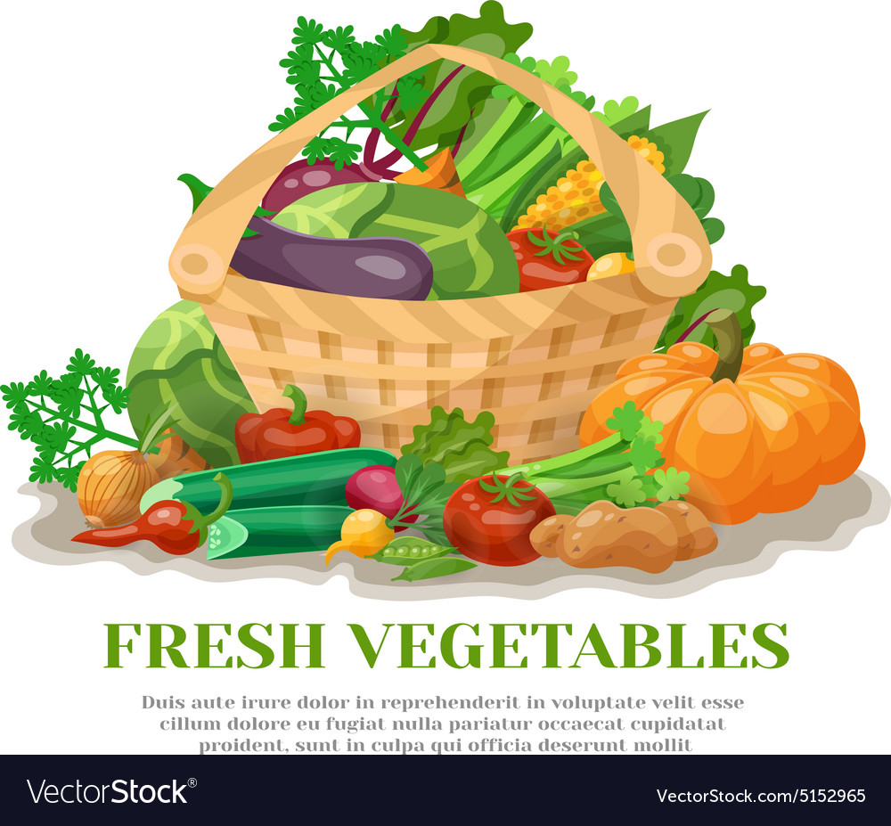 Vegetables basket still life vector