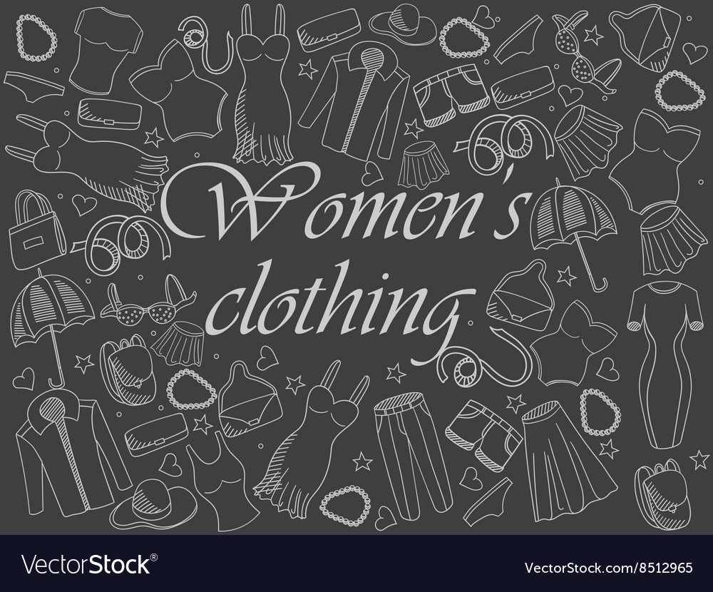 Women clothing chalk vector