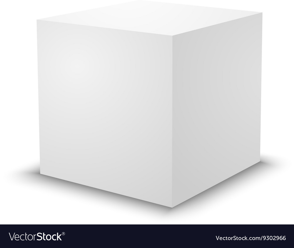 Blank white cube 3d box template vector