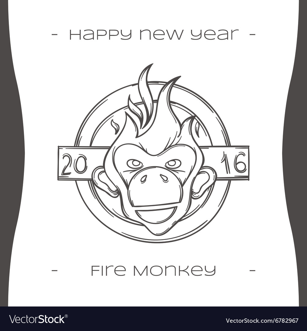 Fire monkey four black vector