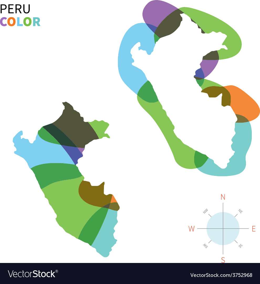 Abstract color map of peru vector