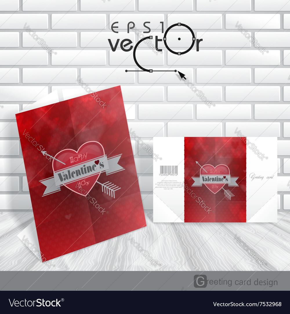 Greeting card design template happy valentines d vector