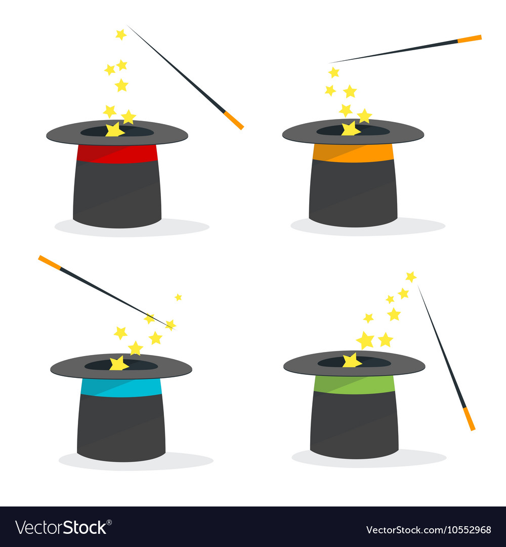 Magic hat set with a wand vector