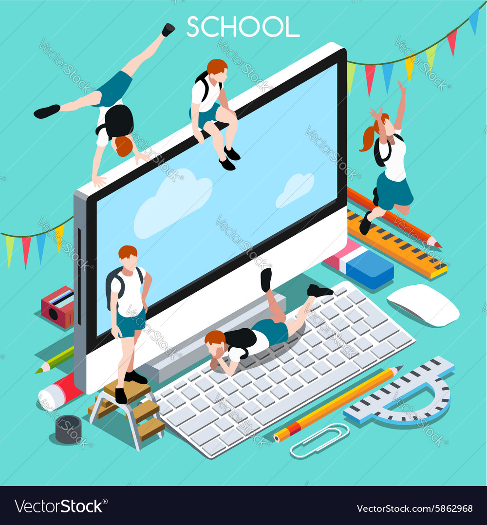 School devices 02 people isometric vector