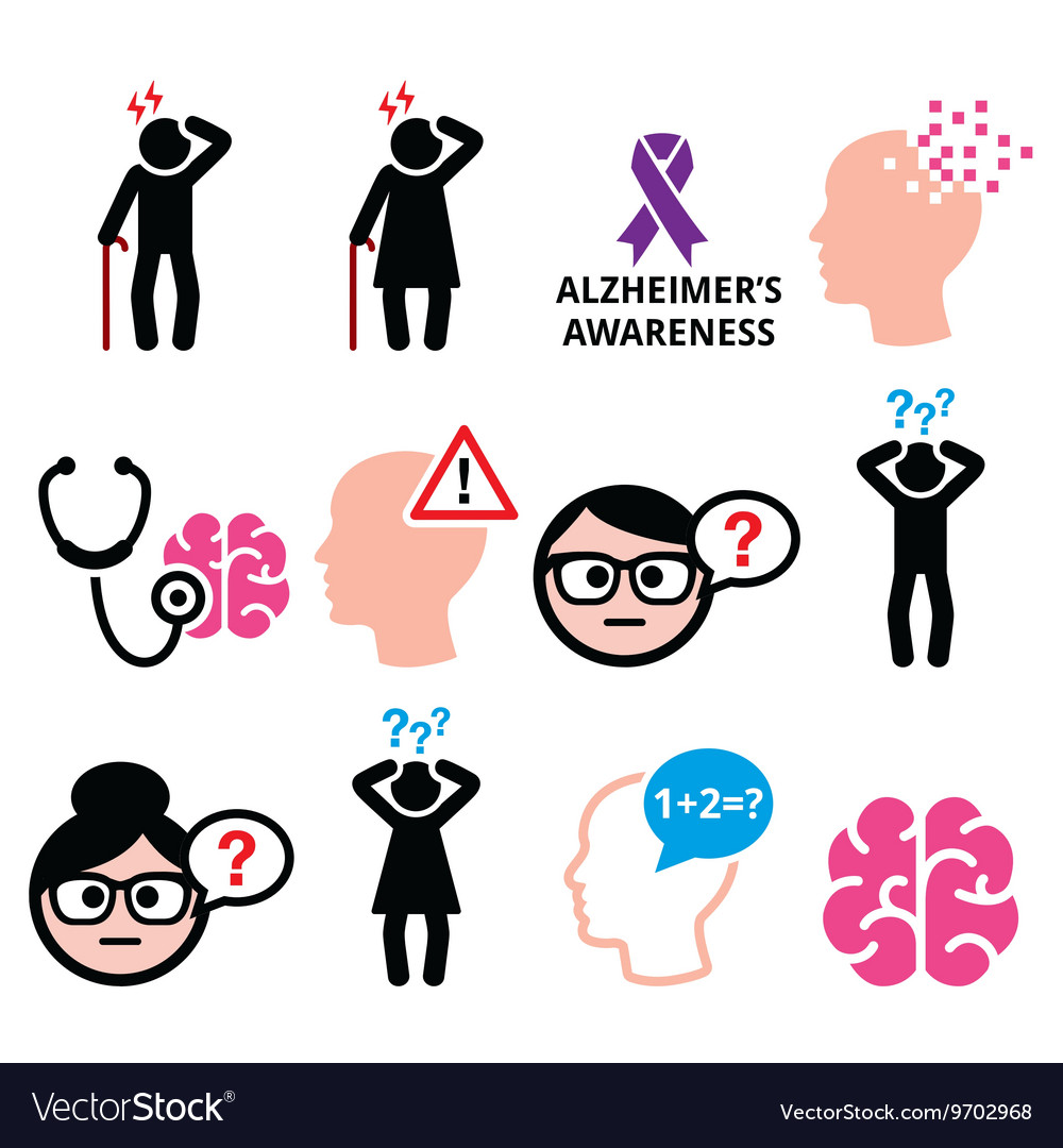 Seniors health  alzheimers disease and dementia vector