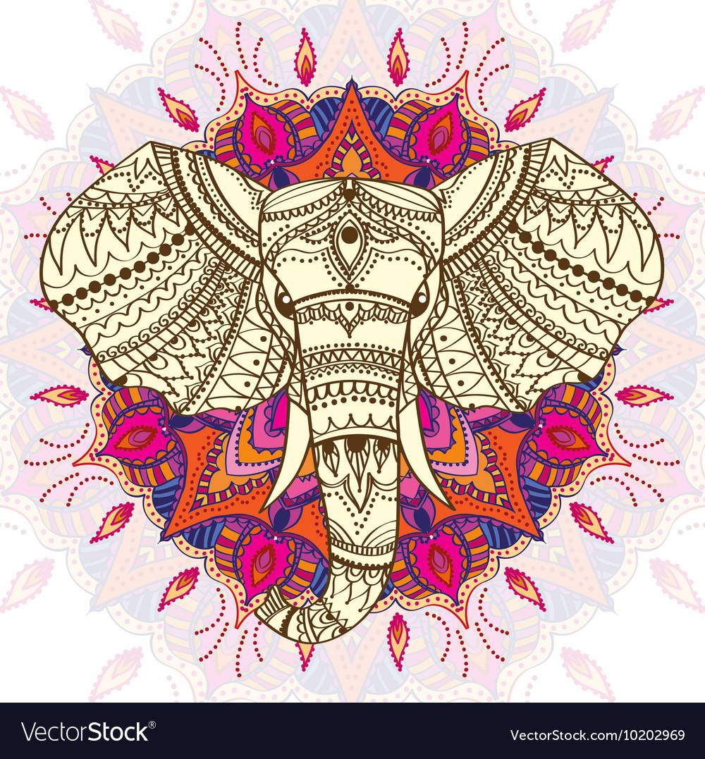 Greeting beautiful card with ethnic patterned head vector