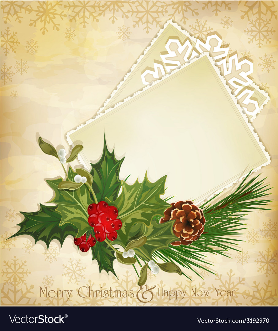 Christmas greeting with holly and a greeting card vector