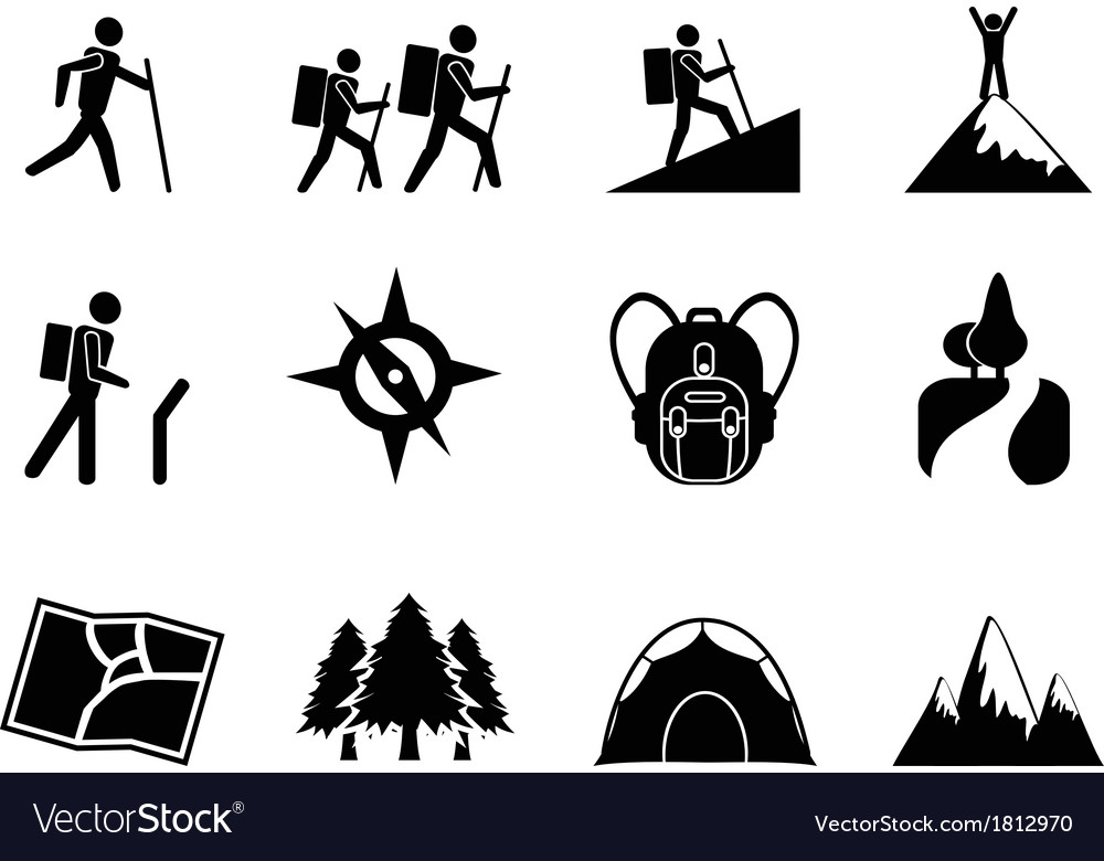 Hiking icons vector