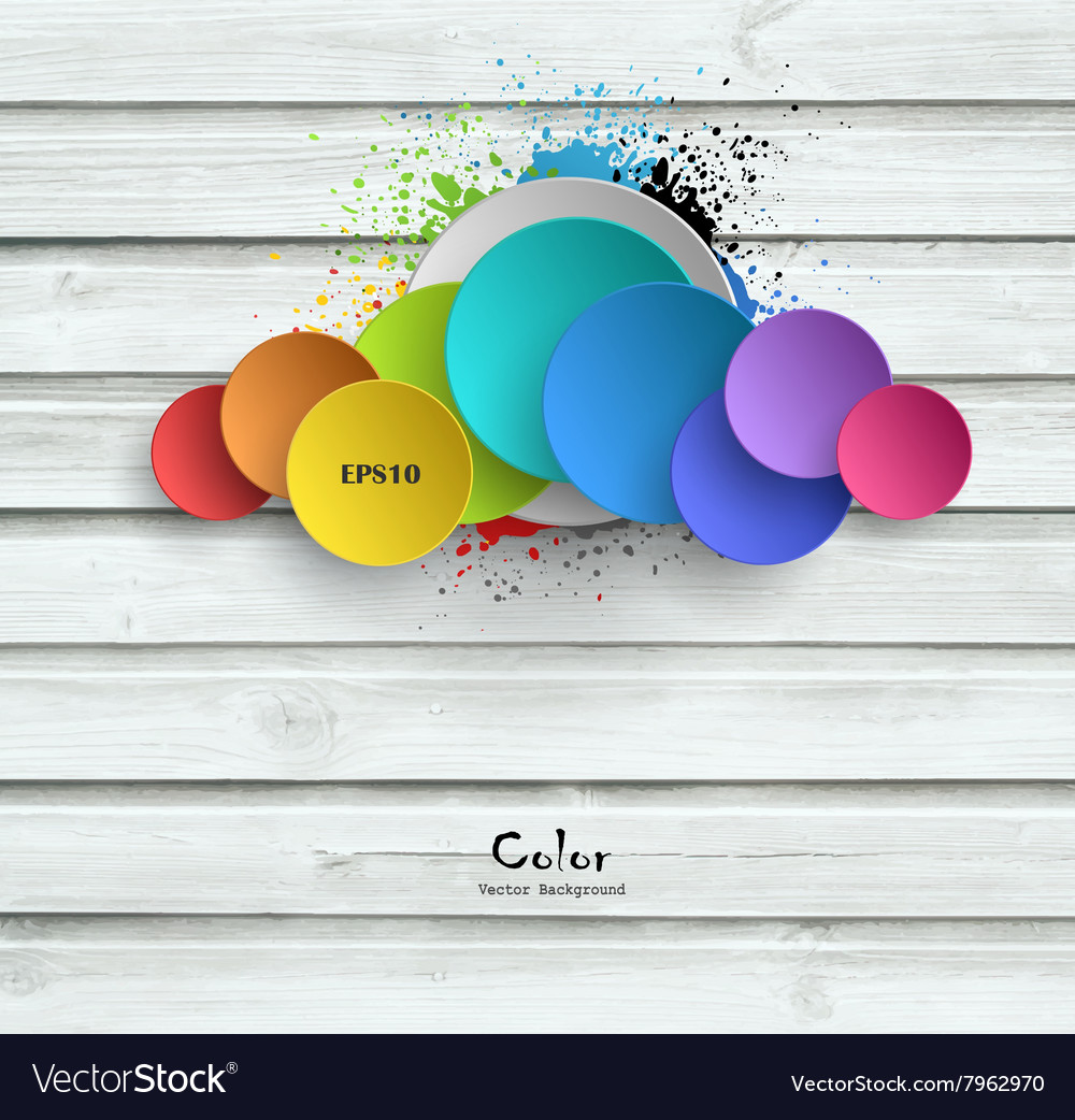 Wooden background with color plates vector