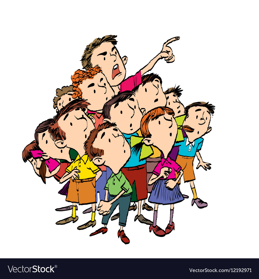 Cartoon group of children spectators watch vector