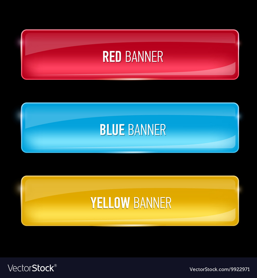 Set of glass yellow red and blue banners vector