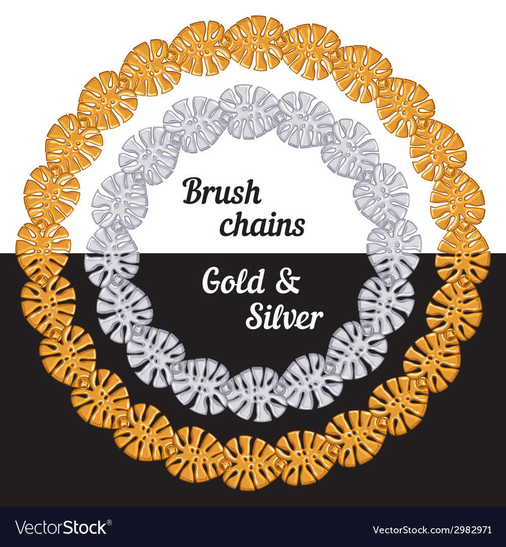 Tropical leaves set of chains metal brushes  gold vector