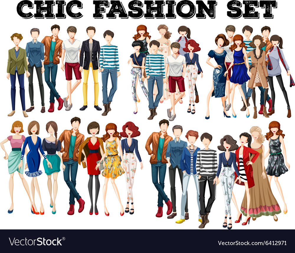 Woman and man in fashion vector