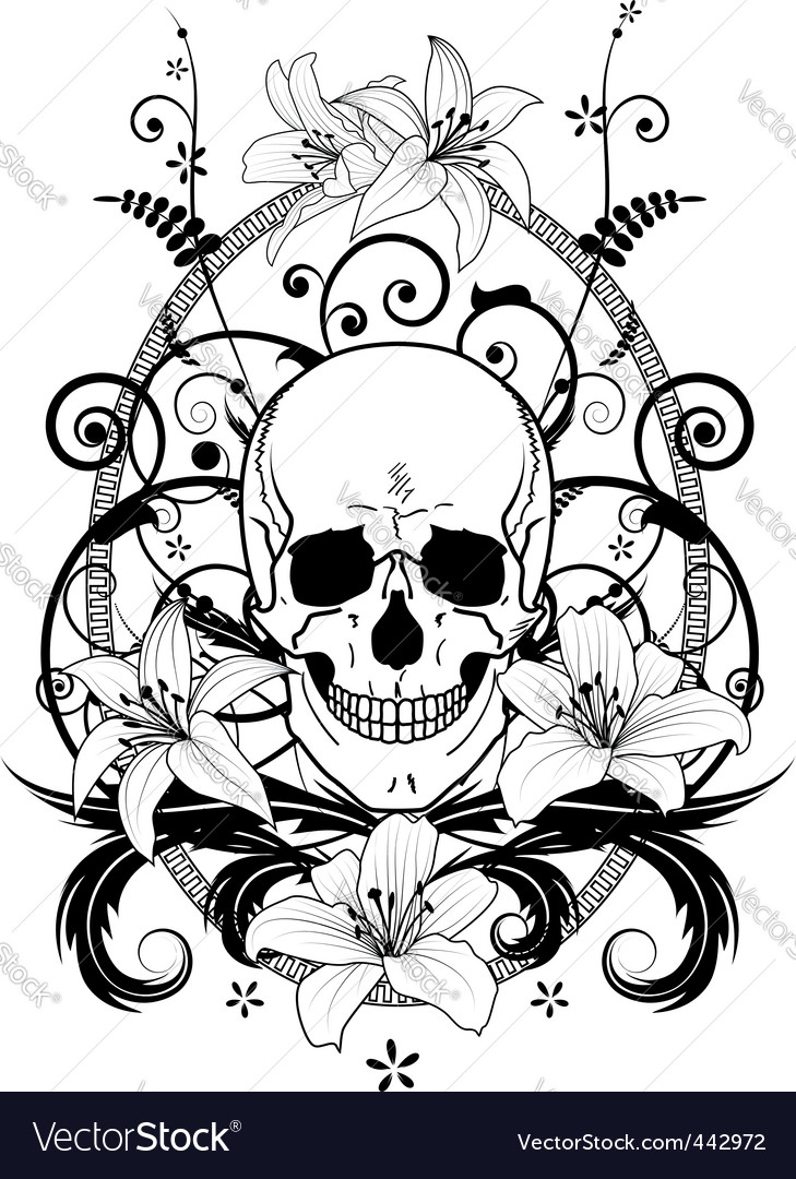 Skull and lilies vector