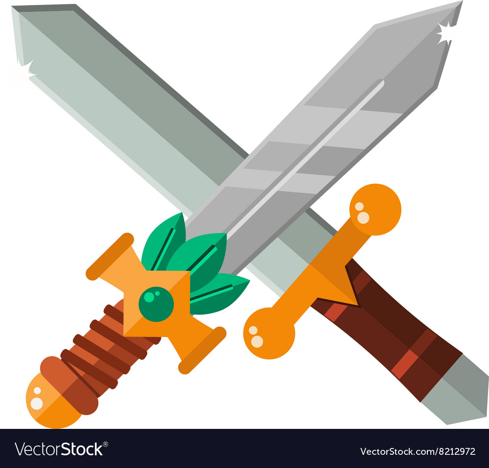 Two crossed asia swords with gold handles vector