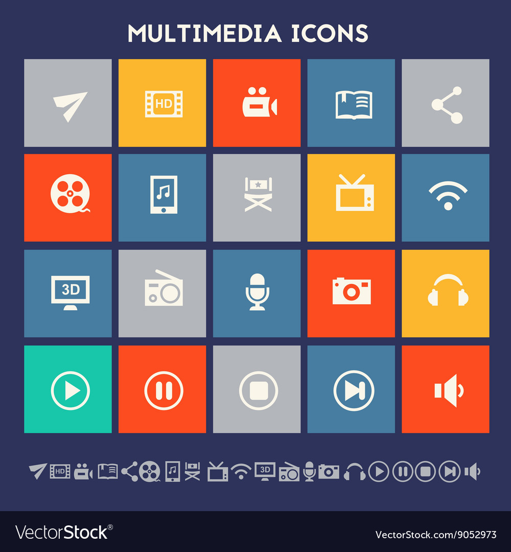Multimedia icons multicolored square flat buttons vector