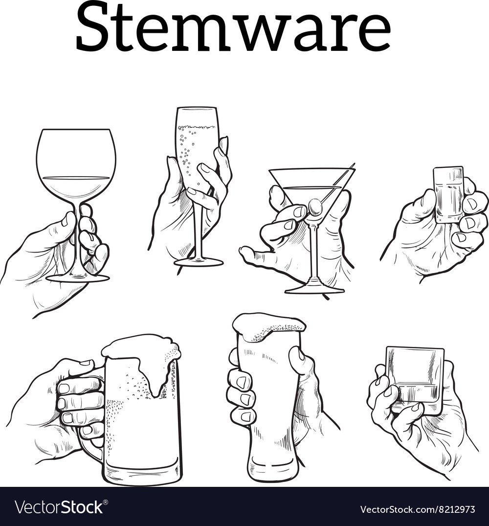 Set of different glass stemware in hand vector