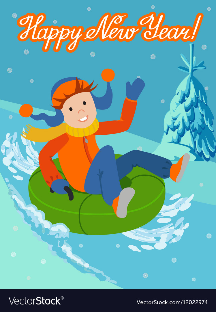 New year card cute child on snow tubing vector