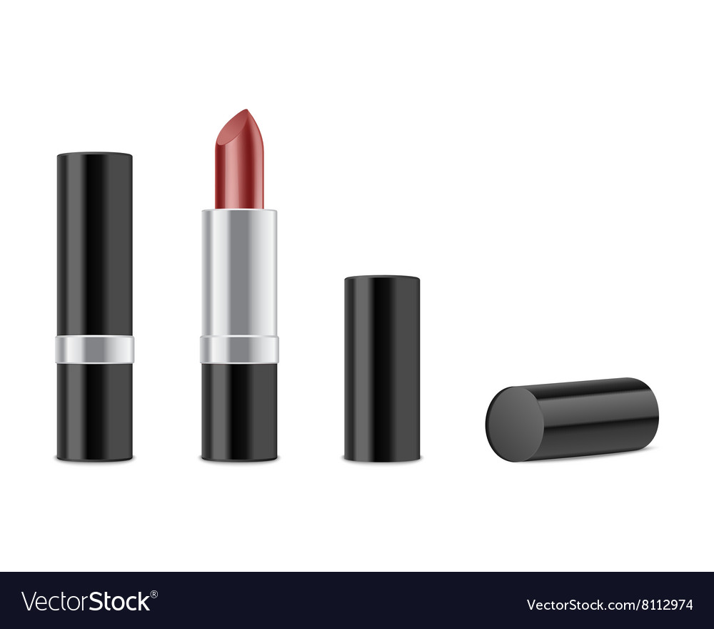 Red lipstick isolated on white background vector