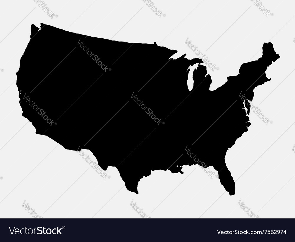 United states of america map silhouette vector