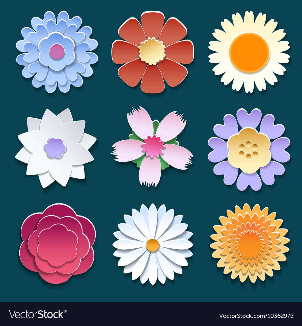 Paper 3d origami flowers set vector