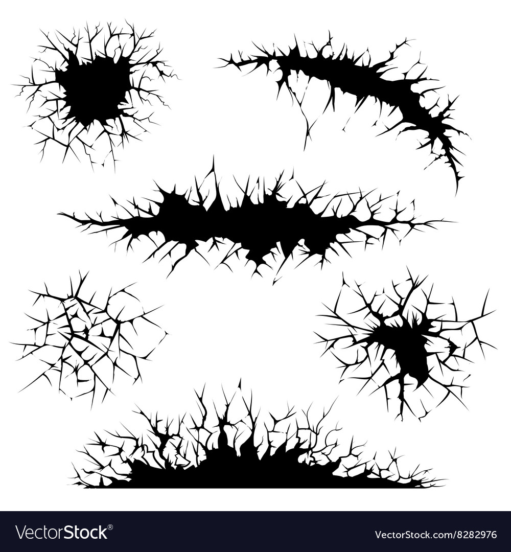 Cracks cracked ground and wall vector