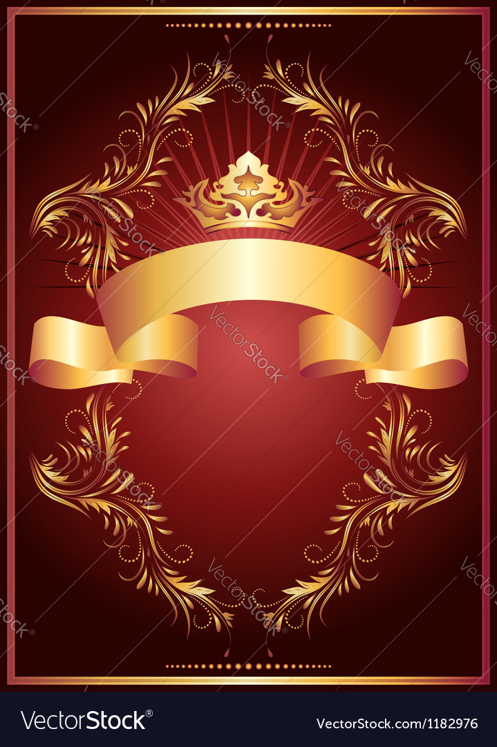 Luxurious golden ornament and crown vector