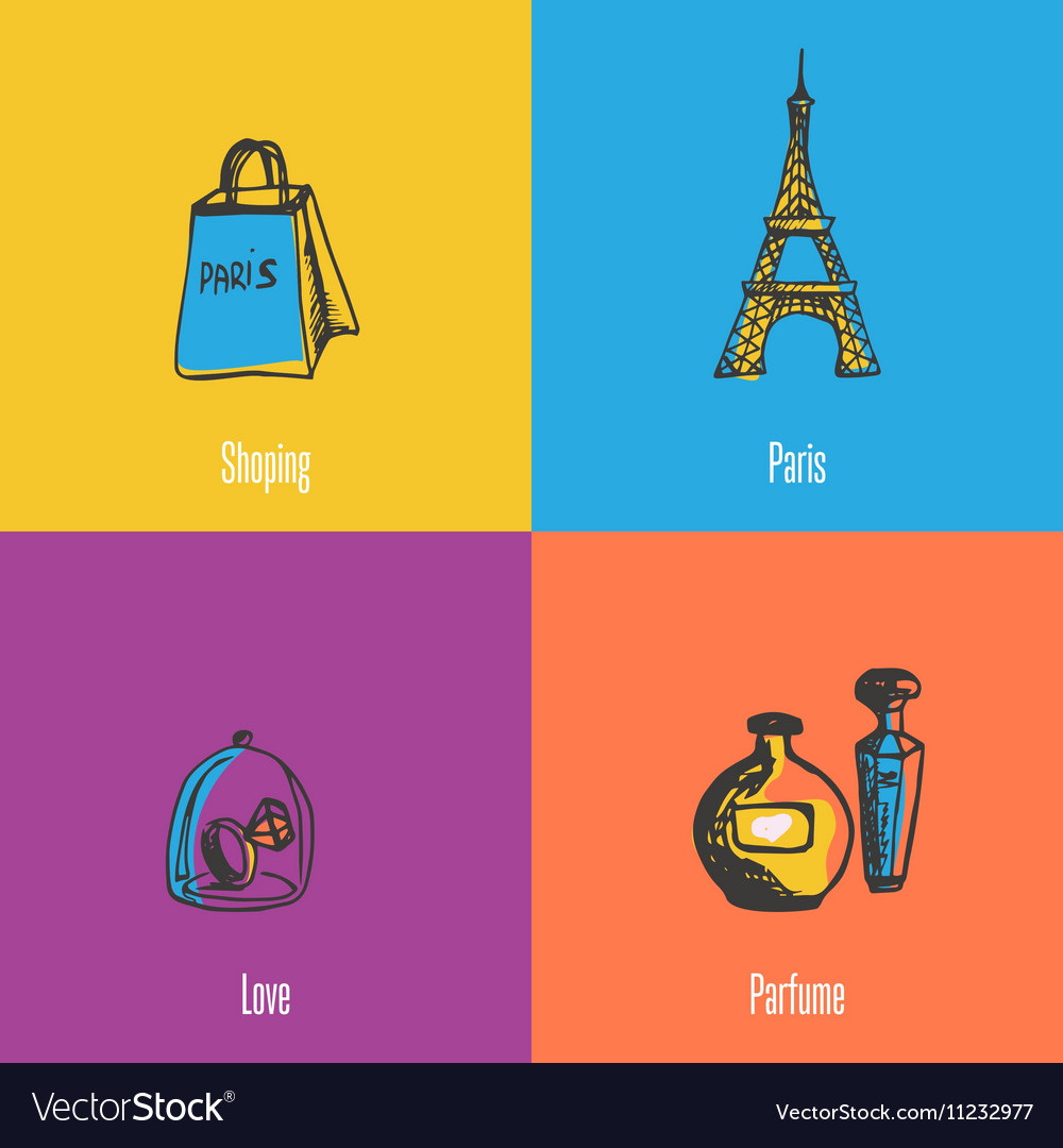 French national symbols icons set vector