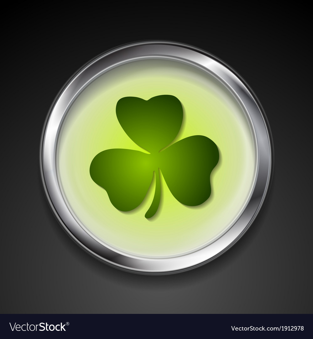Abstract button with shamrock vector