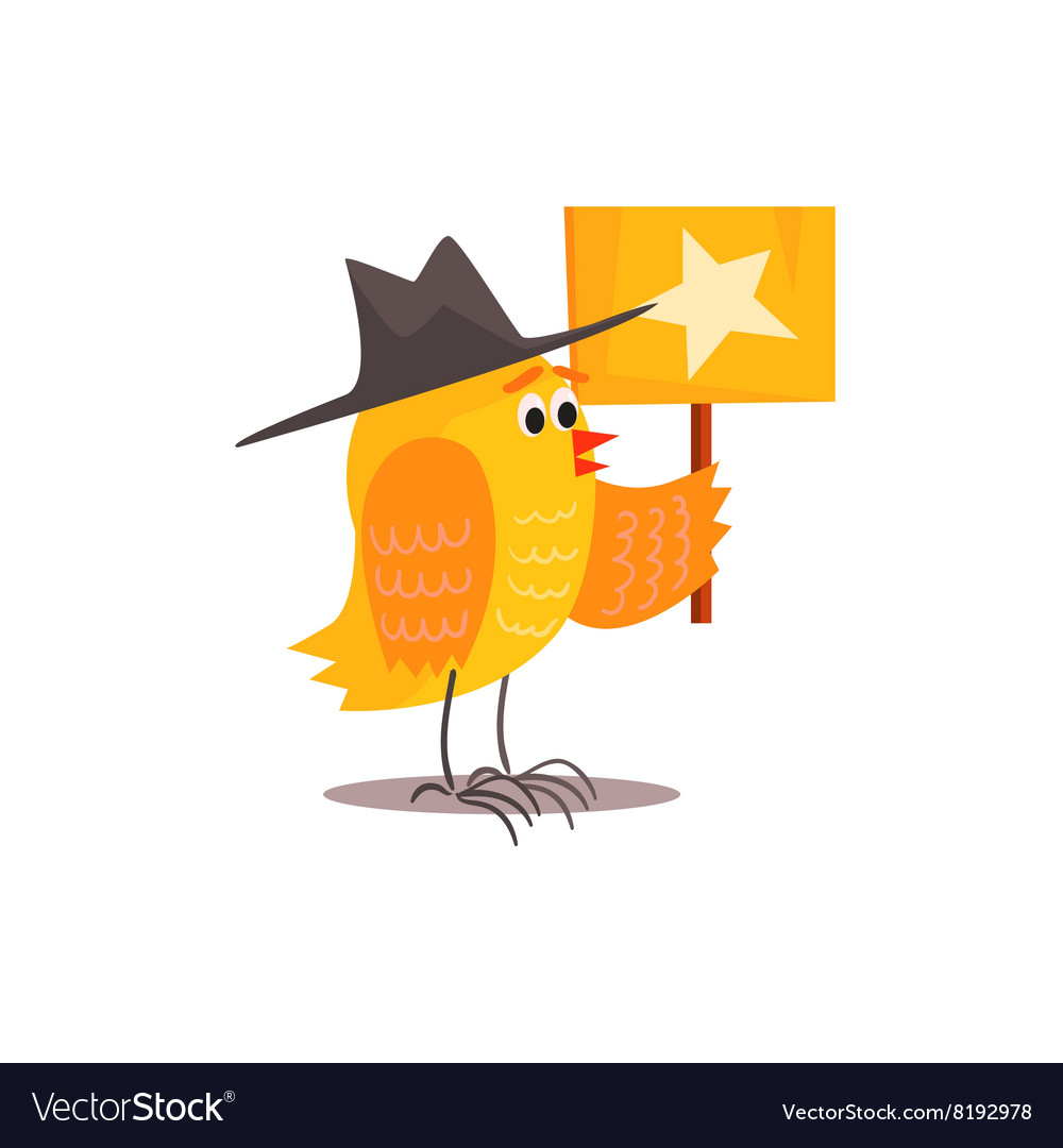 Chick holding plaque with star vector