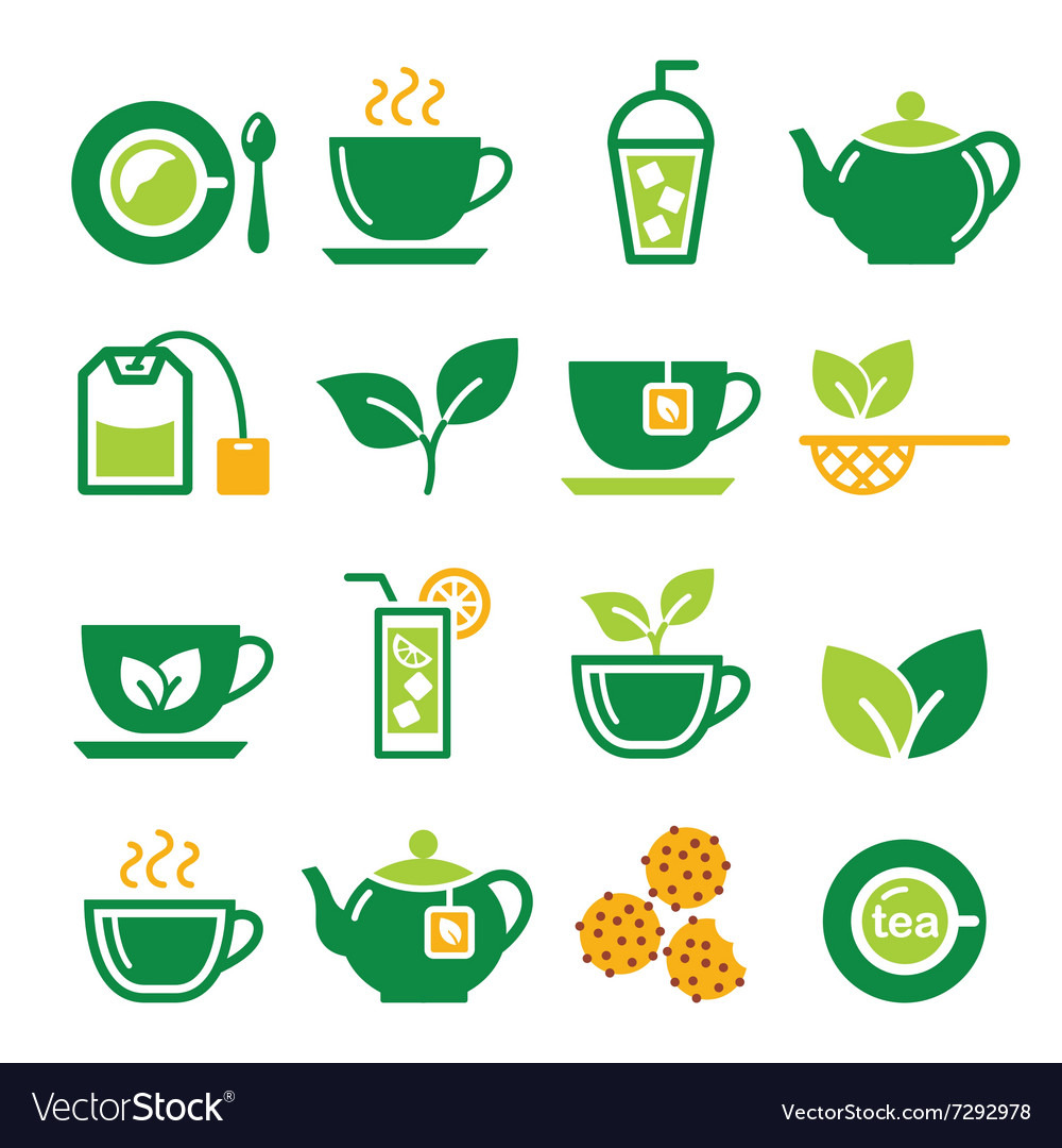 Green tea and ice tea icons set vector