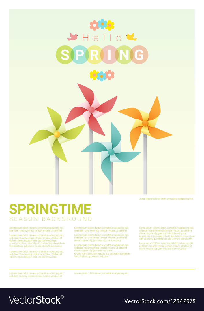 Hello spring background with colorful pinwheels 5 vector