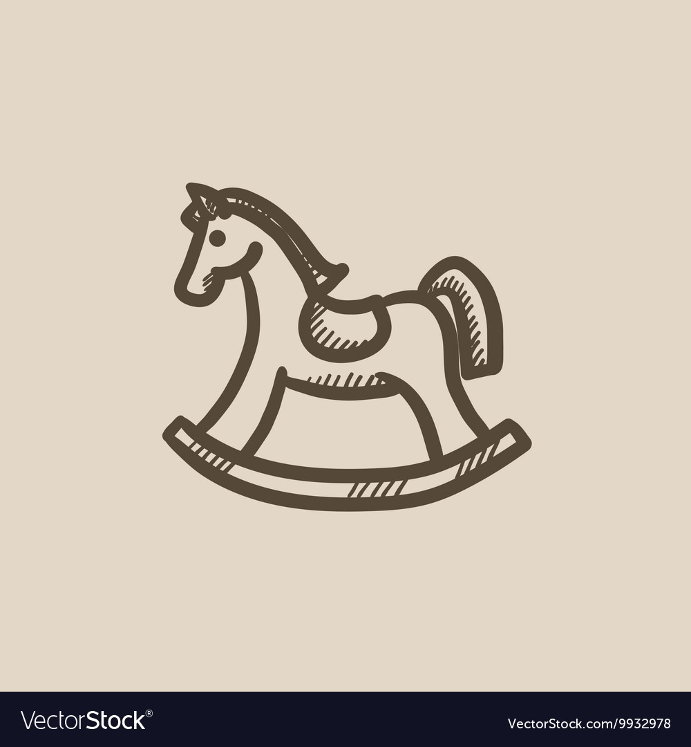 Rocking horse sketch icon vector