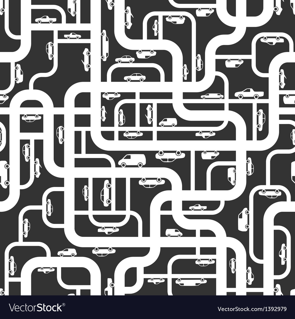 Abstract roads seamless pattern vector