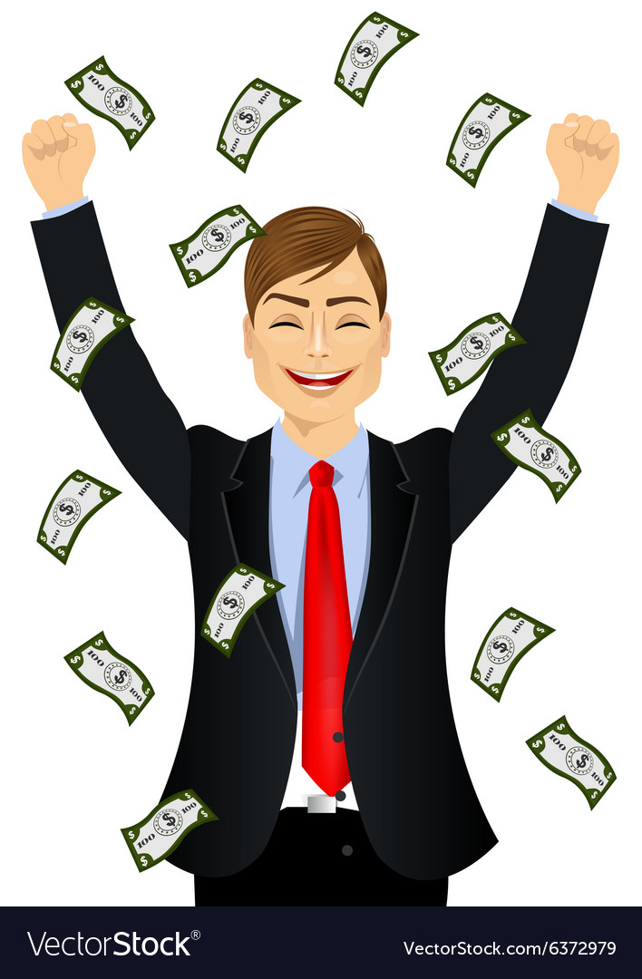 Businessman happy seeing raining money bills vector