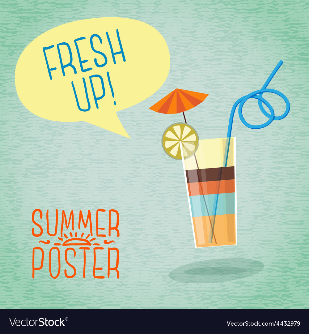 Cute summer poster  cocktail with umbrella lemon vector