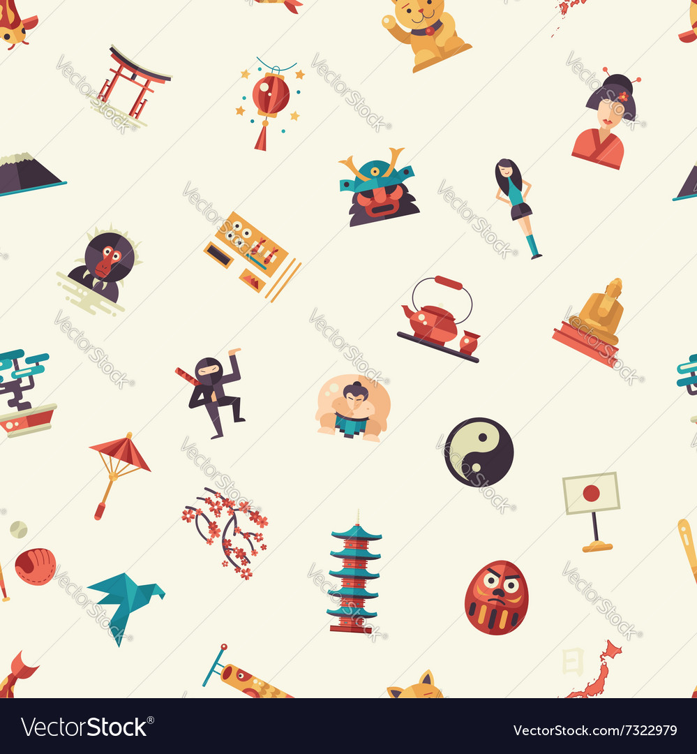 Flat design japan travel pattern with landmarks vector