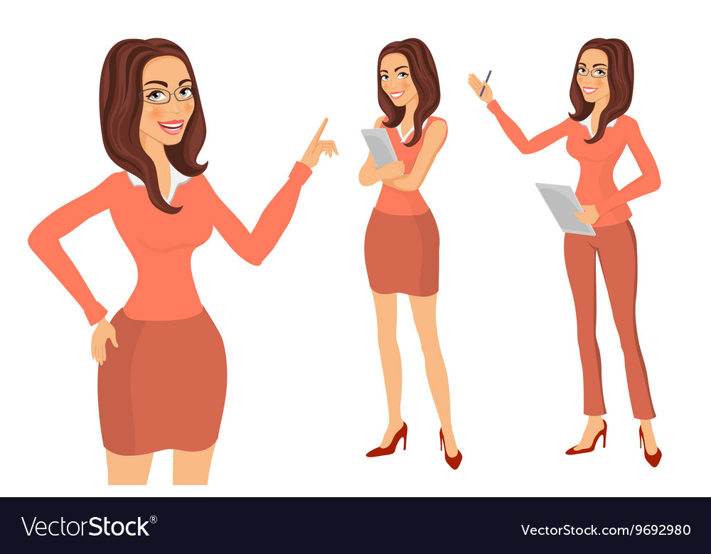 Business girl young women in elegant office vector