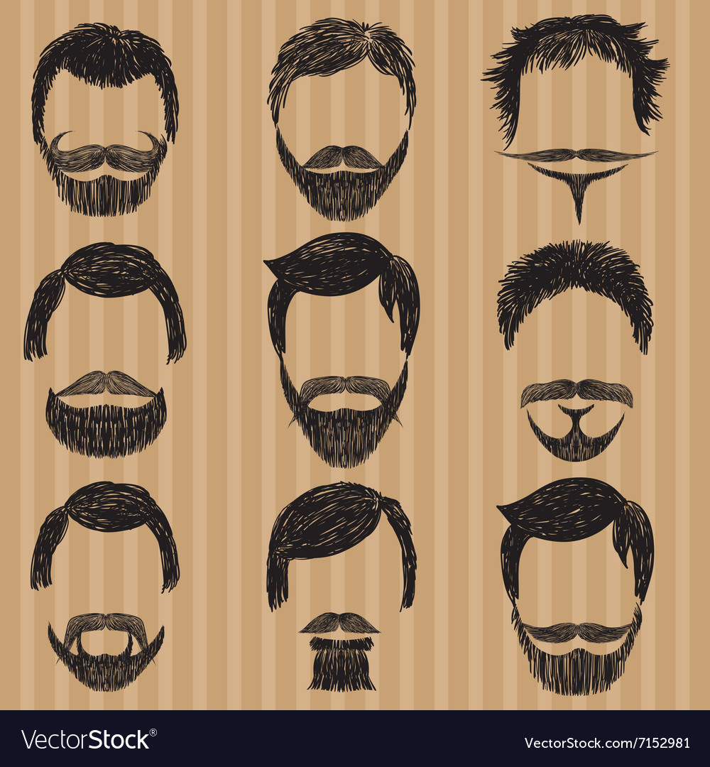 Hair mustache and beard retro hipsters vector