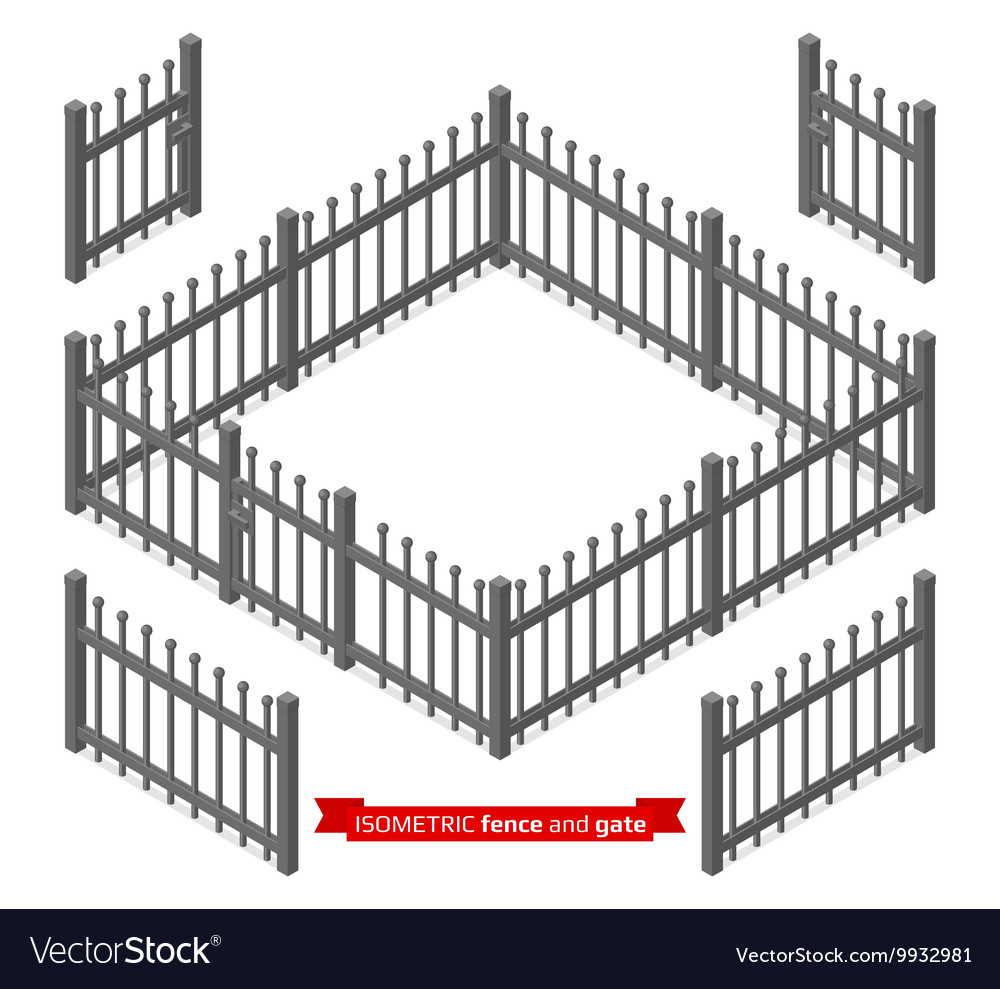 Isometric metal fence and gate vector