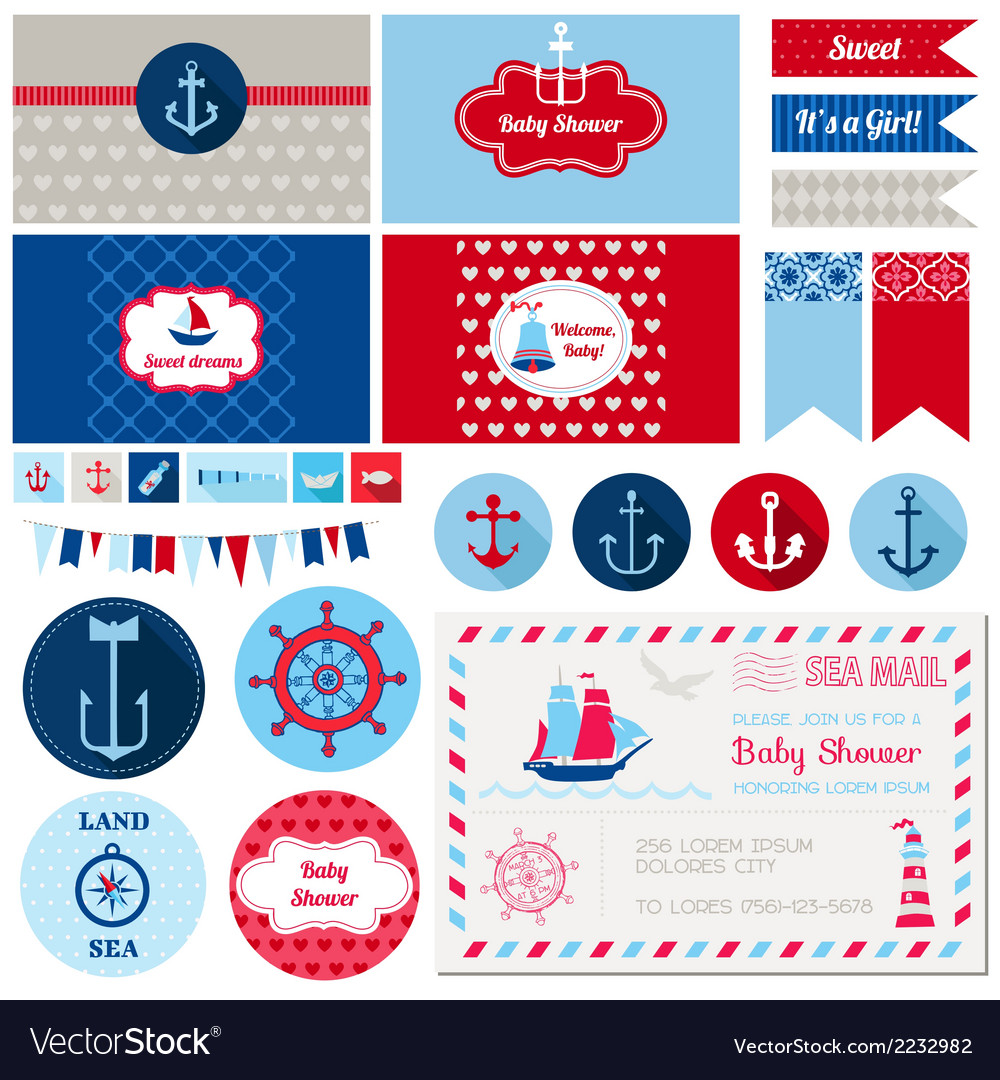 Design elements  baby shower nautical theme vector