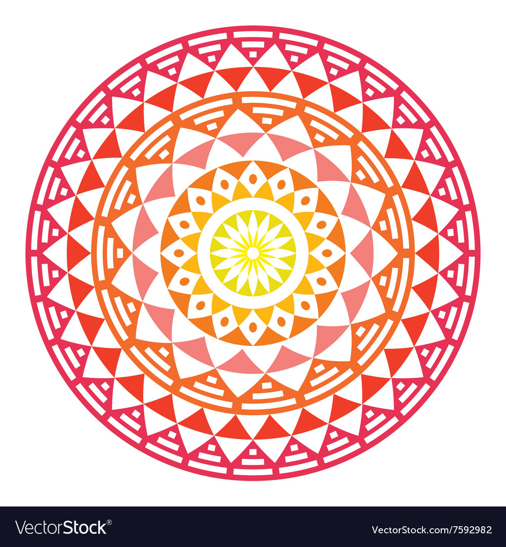 Tribal aztec geometric pattern or print in circle vector