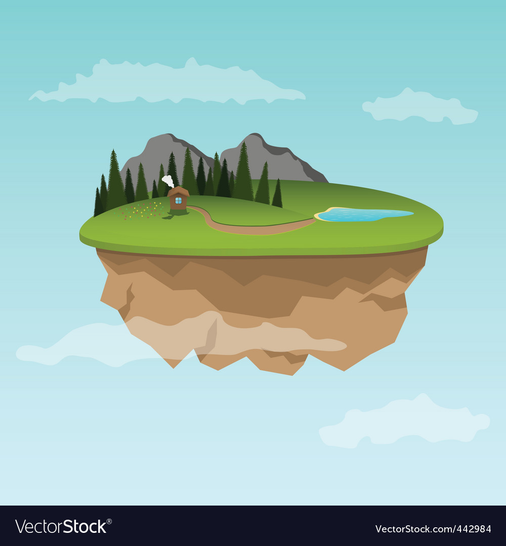 Floating island with small house vector