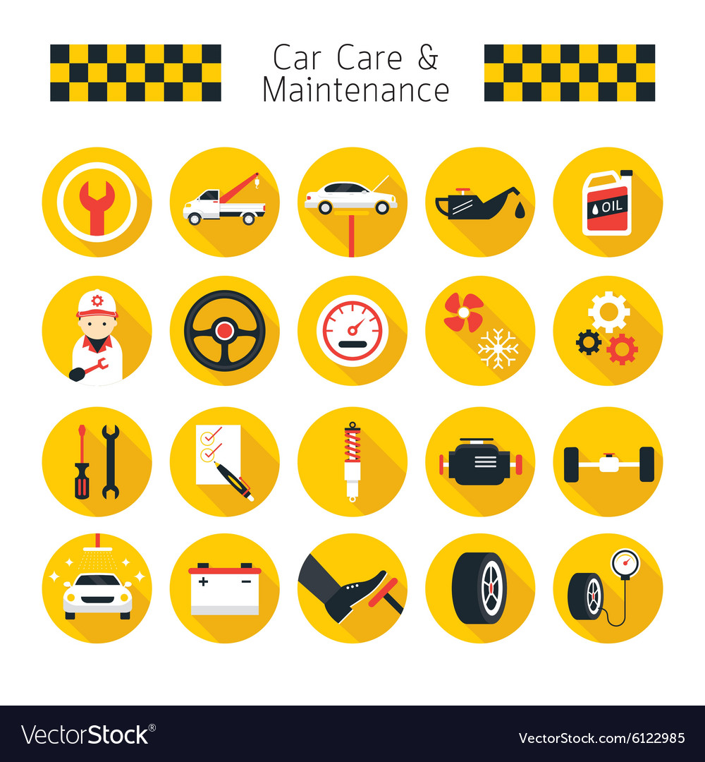 Car care and maintenance objects icons set vector