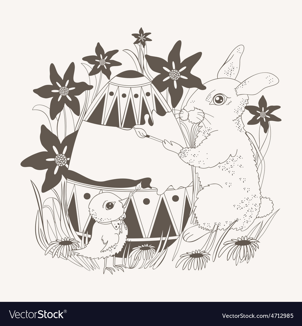 Easter with rabbit and chicken vector