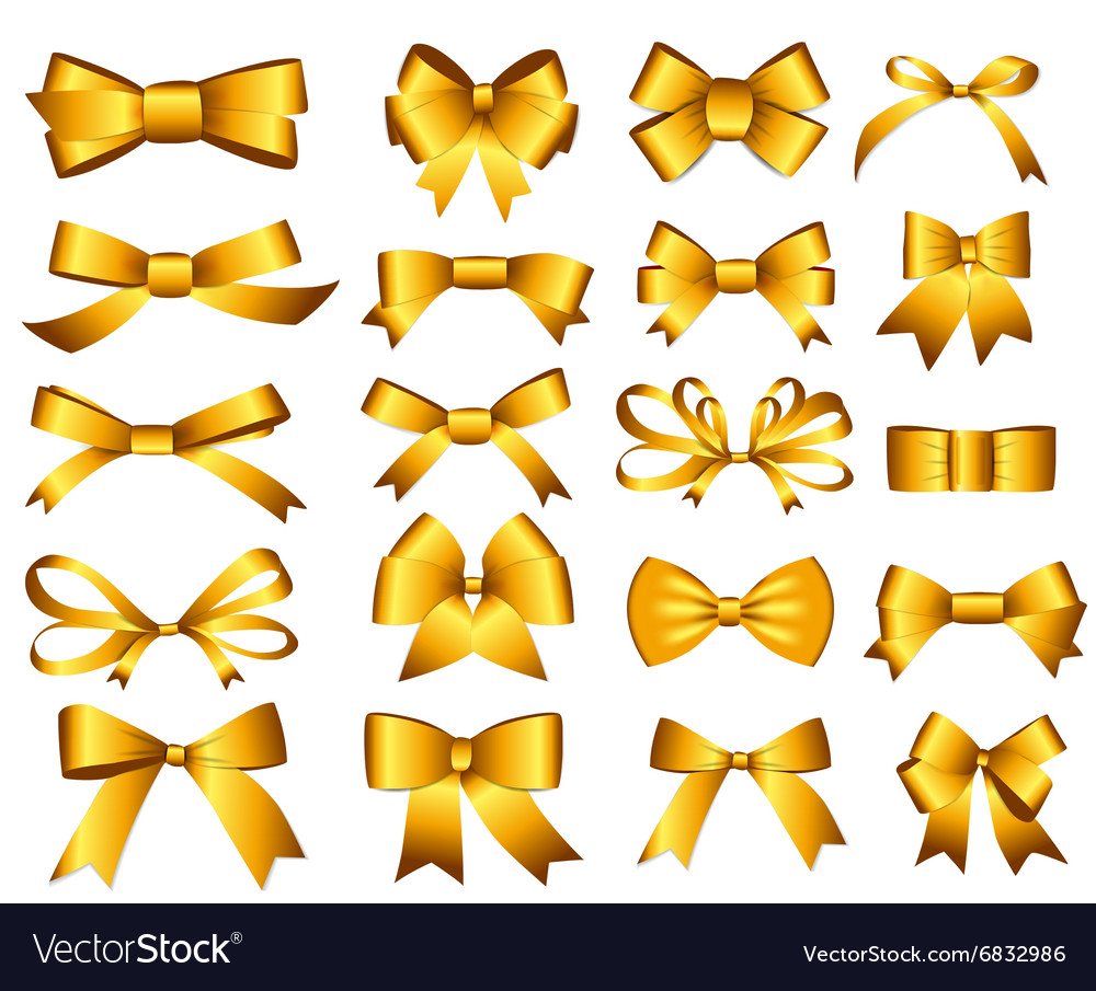 Gold ribbon and bow set for your design vector