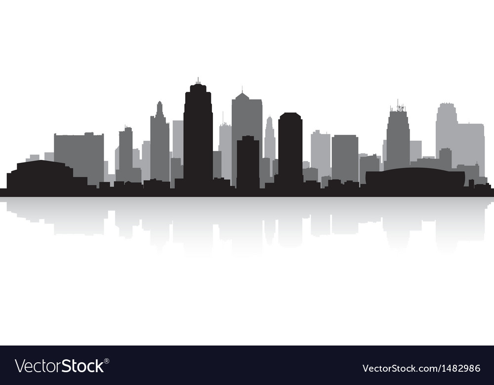 Kansas city usa skyline silhouette vector