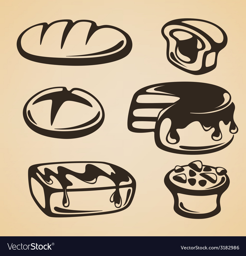 Sweet and bread vector
