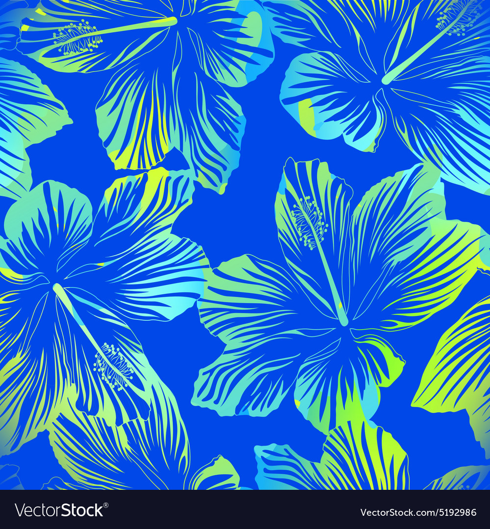 Tropical flowers blue seamless pattern with vector